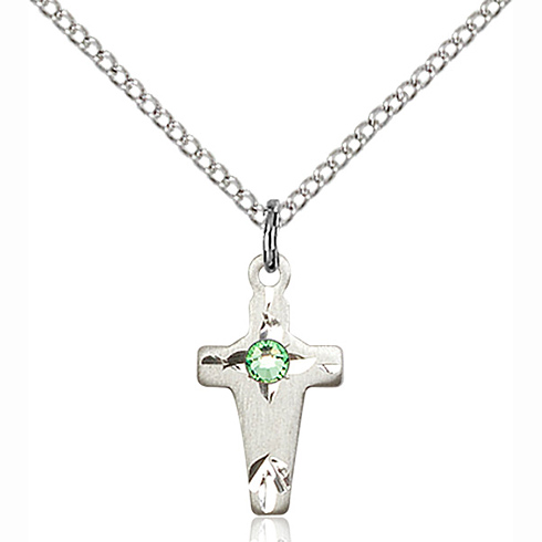 Sterling Silver 5/8in Cross Pendant with 3mm Peridot Bead & 18in Chain
