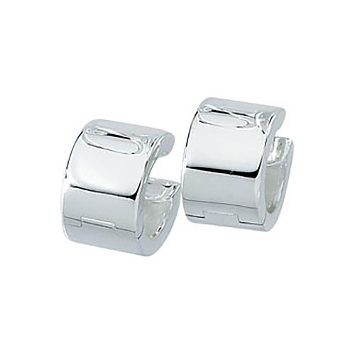 Sterling Silver 1/2in Broad Hinged Huggie Earrings