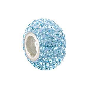 Kera Bead With Pavé Aquamarine Crystals