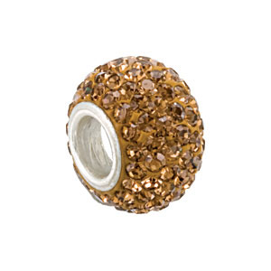 Kera Bead With Pavé Smoky Topaz Crystals