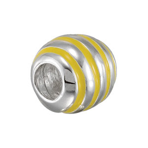 Kera Oval Yellow Enamel Bead