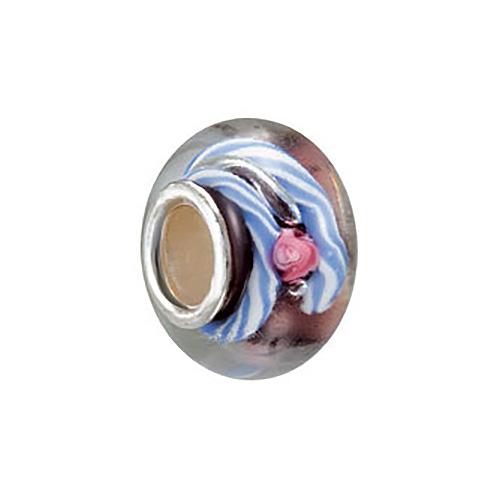 Kera Purple Blue Rose Glass Bead