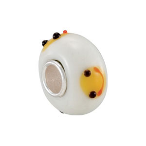 Kera White Smiley Face Glass Bead