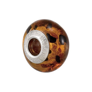 Kera Bella Viaggio Orange And Black Leopard Glass Bead