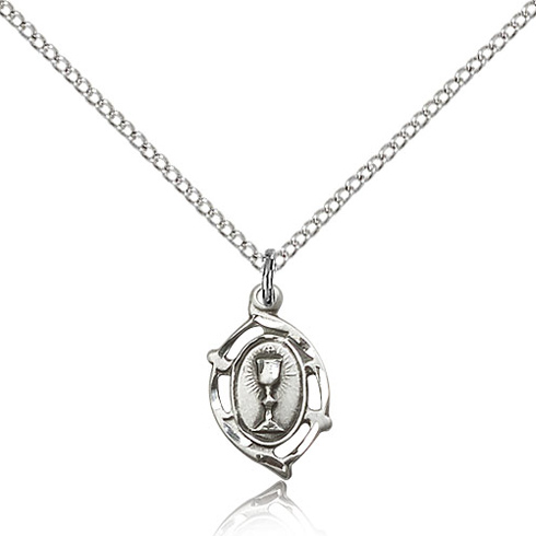 Sterling Silver 5/8in Communion Pendant & 18in Chain