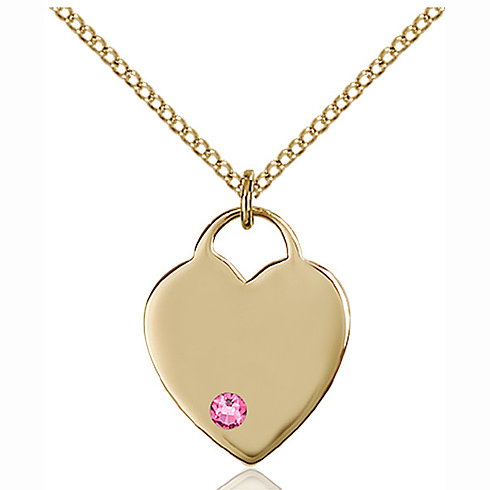 Gold Filled 3/4in Heart Pendant with 3mm Rose Bead & 18in Chain