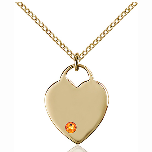 Gold Filled 3/4in Heart Pendant with 3mm Topaz Bead & 18in Chain