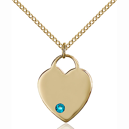 Gold Filled 3/4in Heart Pendant with 3mm Zircon Bead & 18in Chain
