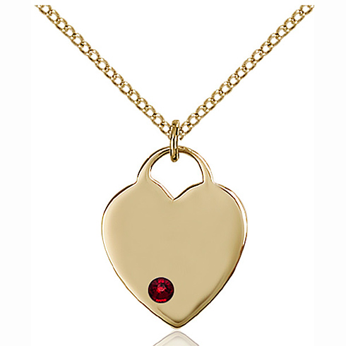Gold Filled 3/4in Heart Pendant with 3mm Garnet Bead & 18in Chain