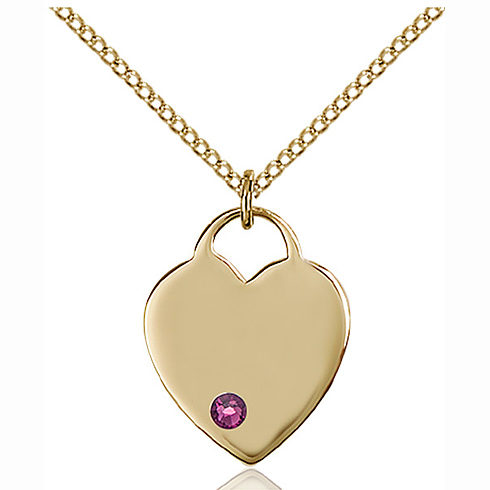 Gold Filled 3/4in Heart Pendant with 3mm Amethyst Bead & 18in Chain