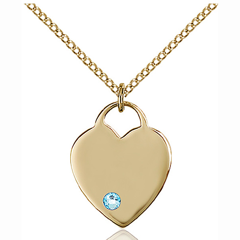 Gold Filled 3/4in Heart Pendant with 3mm Aqua Bead & 18in Chain