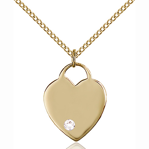 Gold Filled 3/4in Heart Pendant with 3mm Crystal Bead & 18in Chain