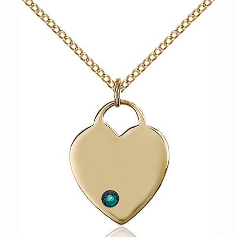 Gold Filled 3/4in Heart Pendant with 3mm Emerald Bead & 18in Chain
