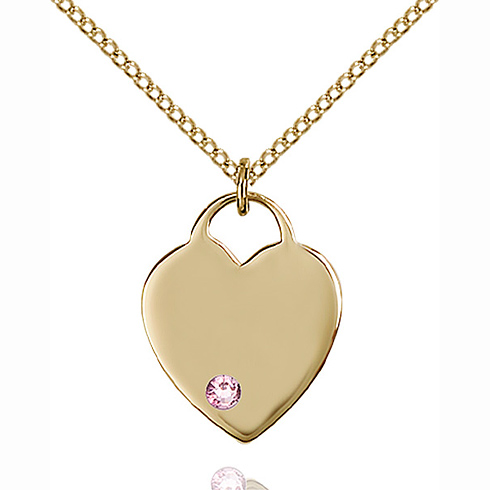 Gold Filled 3/4in Heart Pendant with 3mm Light Amethyst Bead & 18in Chain