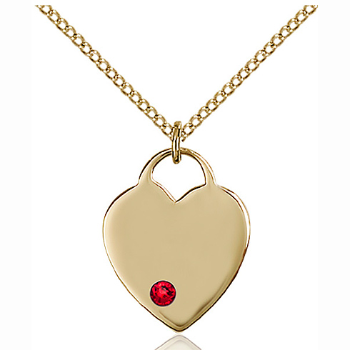 Gold Filled 3/4in Heart Pendant with 3mm Ruby Bead & 18in Chain