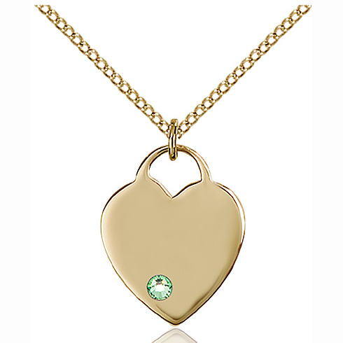 Gold Filled 3/4in Heart Pendant with 3mm Peridot Bead & 18in Chain