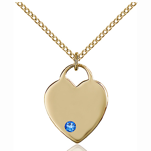 Gold Filled 3/4in Heart Pendant with 3mm Sapphire Bead & 18in Chain