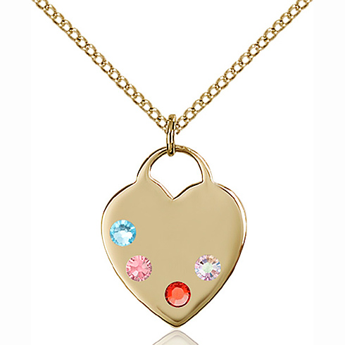 Gold Filled 3/4in Heart Pendant with Multi-Color beads & 18in Chain