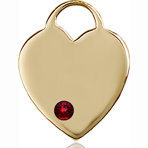 14kt Yellow Gold 3/4in Heart Pendant with 3mm Garnet Bead
