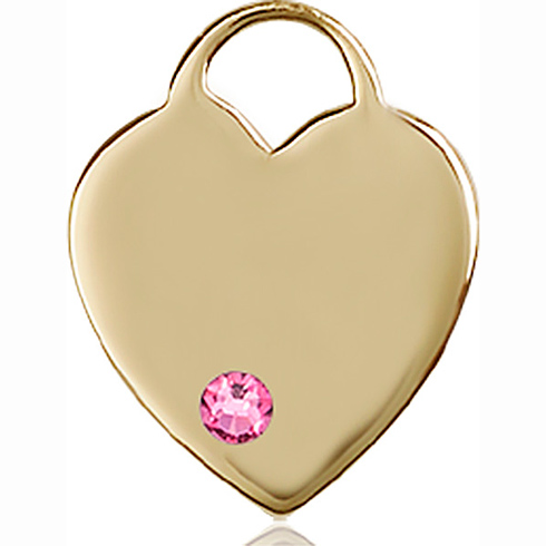 14kt Yellow Gold 3/4in Heart Pendant with 3mm Rose Bead