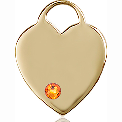 14kt Yellow Gold 3/4in Heart Pendant with 3mm Topaz Bead