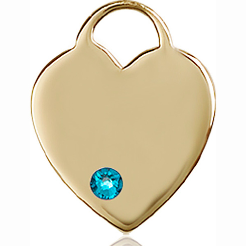 14kt Yellow Gold 3/4in Heart Pendant with 3mm Zircon Bead