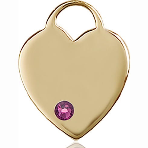 14kt Yellow Gold 3/4in Heart Pendant with 3mm Amethyst Bead
