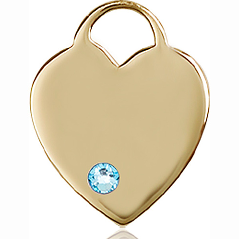 14kt Yellow Gold 3/4in Heart Pendant with 3mm Aqua Bead
