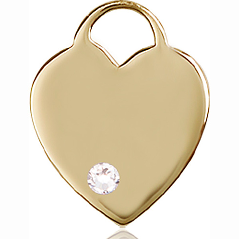 14kt Yellow Gold 3/4in Heart Pendant with 3mm Crystal Bead