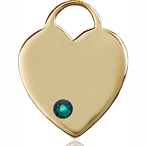 14kt Yellow Gold 3/4in Heart Pendant with 3mm Emerald Bead