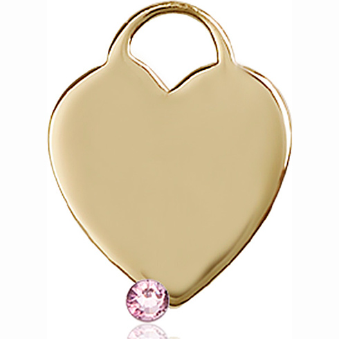 14kt Yellow Gold 3/4in Heart Pendant with 3mm Light Amethyst Bead