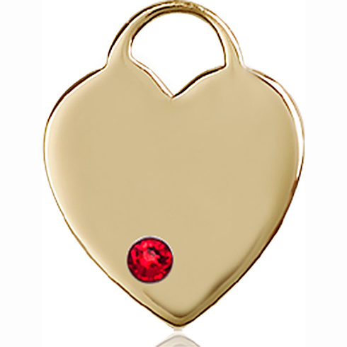 14kt Yellow Gold 3/4in Heart Pendant with 3mm Ruby Bead