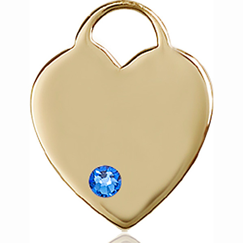 14kt Yellow Gold 3/4in Heart Pendant with 3mm Sapphire Bead