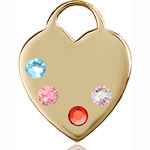 14kt Yellow Gold 3/4in Heart Pendant with 3mm Multi-Color beads &