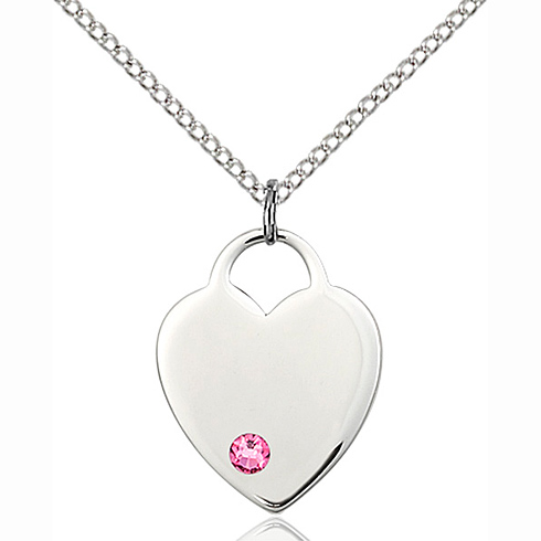 Sterling Silver 3/4in Heart Pendant with 3mm Rose Bead & 18in Chain