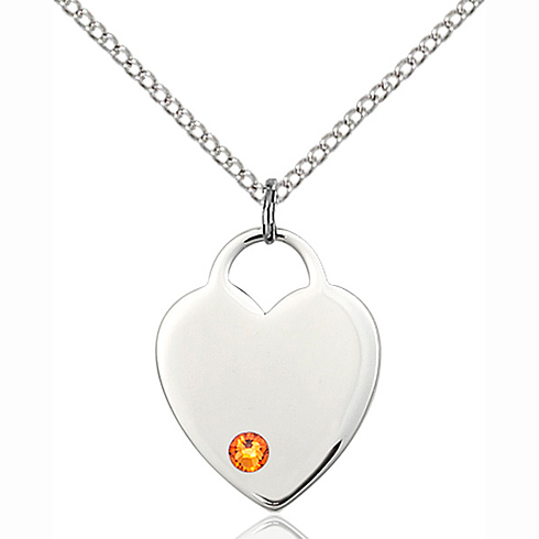 Sterling Silver 3/4in Heart Pendant with 3mm Topaz Bead & 18in Chain
