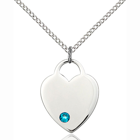 Sterling Silver 3/4in Heart Pendant with 3mm Zircon Bead & 18in Chain