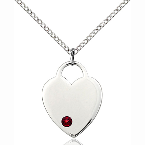 Sterling Silver 3/4in Heart Pendant with 3mm Garnet Bead & 18in Chain