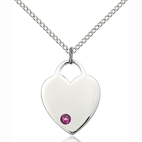 Sterling Silver 3/4in Heart Pendant with 3mm Amethyst Bead & 18in Chain