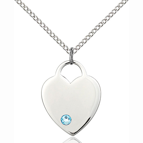 Sterling Silver 3/4in Heart Pendant with 3mm Aqua Bead & 18in Chain