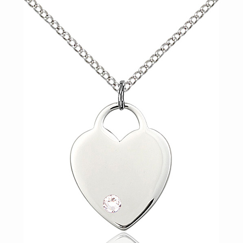 Sterling Silver 3/4in Heart Pendant with 3mm Crystal Bead & 18in Chain
