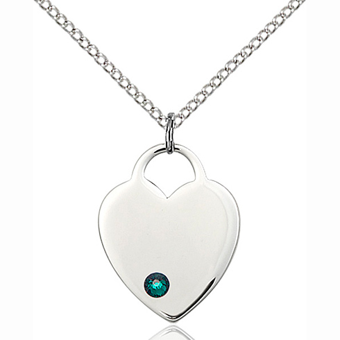 Sterling Silver 3/4in Heart Pendant with 3mm Emerald Bead & 18in Chain