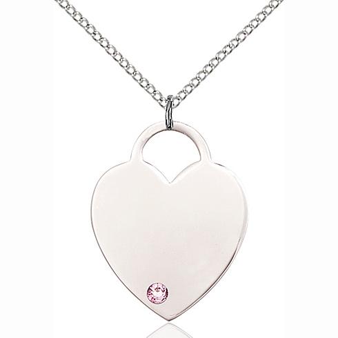 Sterling Silver 3/4in Heart Pendant Light Amethyst Bead & 18in Chain