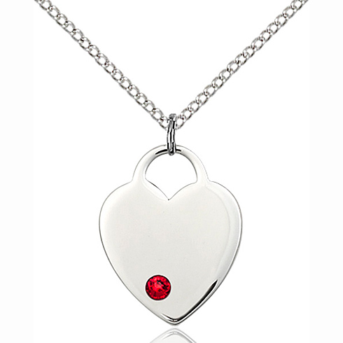 Sterling Silver 3/4in Heart Pendant with 3mm Ruby Bead & 18in Chain