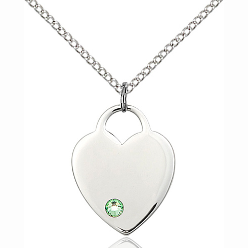 Sterling Silver 3/4in Heart Pendant with 3mm Peridot Bead & 18in Chain