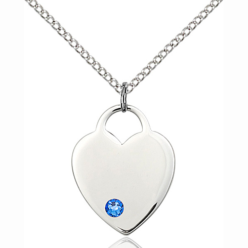 Sterling Silver 3/4in Heart Pendant with Sapphire Bead & 18in Chain