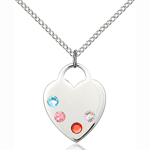Sterling Silver 3/4in Heart Pendant with 3mm Multi-Color beads & 18in Chain