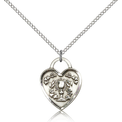 Sterling Silver 3/4in Heart Communion Medal & 18in Chain