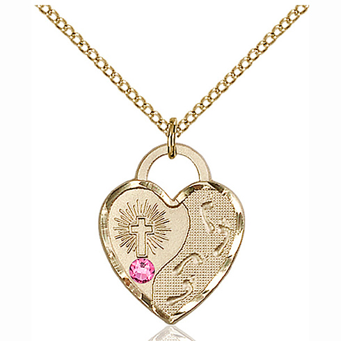 Gold Filled 3/4in Footprints Heart Pendant Rose Bead & 18in Chain