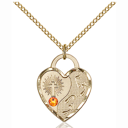 Gold Filled 3/4in Footprints Heart Pendant with 3mm Topaz Bead & 18in Chain
